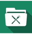 Crossed fork over knife grey folder flat icon with vector image