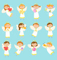 angel children boys and girls winter holiday vector image
