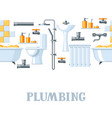 bathroom interior plumbing seamless pattern vector image vector image