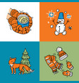 beautiful hand drawn winter vector image vector image
