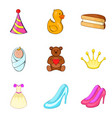 birth of child icons set cartoon style vector image