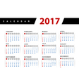 Calendar 2017 year design template vector image