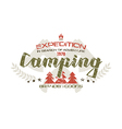 Camping emblem with shabby texture vector image vector image