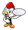 cartoon chicken character holding a delicious vector image vector image