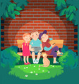 cartoon children rest in the evening on the bench vector image