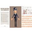 cartoon flat funny british policeman character set vector image