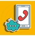 cellphone bubble speech cartoon vector image