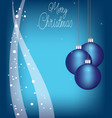 christmas balls on blue background with snow vector image vector image