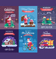 christmas cards set with santa delivering vector image vector image