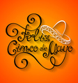 Cinco de Mayo Inscription with Sombrero vector image