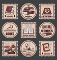 colored education and bookstore stamps set vector image vector image