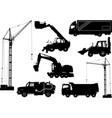 construction equipment trucks excavator vector image vector image