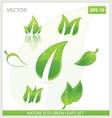 creative concept eco green leafs symbols set vector image