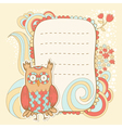 Cute cartoon owl stylish sticker card vector image vector image