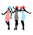 elegant silhouettes three girls wearing vector image vector image