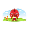 farm animals and red barn windmill on beautiful vector image vector image