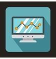 Graph on the computer monitor icon flat style vector image vector image