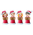 group of kids in red santa costume singing christm vector image vector image