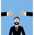 Happy businessman and hands with thumbs up vector image
