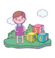 happy little boy with blocks numbers toy vector image vector image