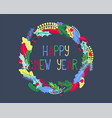 happy new year in winter leaf wreath christmas vector image