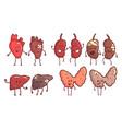 healthy and unhealthy human internal organs vector image vector image