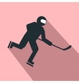 Hockey player flat icon vector image vector image