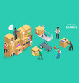 isometric flat concept employee search vector image