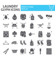 laundry glyph icon set washing symbols collection vector image vector image