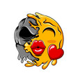 love emoticon with big kiss lips change vector image