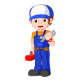 mechanic holding utility box vector image