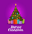 merry christmas greeting card decorated xmas vector image