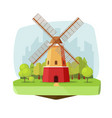 mill farm on nature landscape vector image vector image
