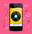 music player on smartphone with lp disc and notes vector image vector image