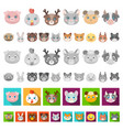 muzzles of animals cartoon icons in set collection vector image vector image
