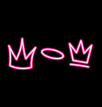 neon crown graffiti set in pink over black vector image