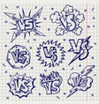 pen drawn versus confrontation labels vector image vector image