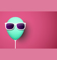 pink background with green balloon in sunglasses vector image vector image