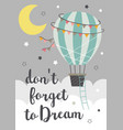 poster with a hot air balloon flying in sky vector image vector image