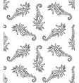 seamless pattern of black cartoon seahorse vector image vector image
