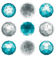 set of abstract 3d faceted figures with connected vector image