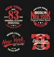 set of new york brooklyn vintage print for t-shirt vector image vector image
