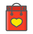 shopping bag with heart filled outline icon vector image vector image
