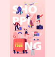 shopping tour concept buyers characters seasonal vector image vector image