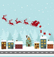 silhouette of santa claus on sleigh with reindeer vector image
