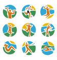 sport icons set on round colorful expressive backg vector image