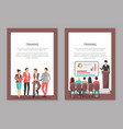 training posters set with people discussing issues vector image vector image