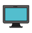 white background with blue lcd monitor with thick vector image vector image