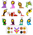 Worm Characters Creation Set vector image