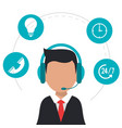character wearing headset call center icons vector image